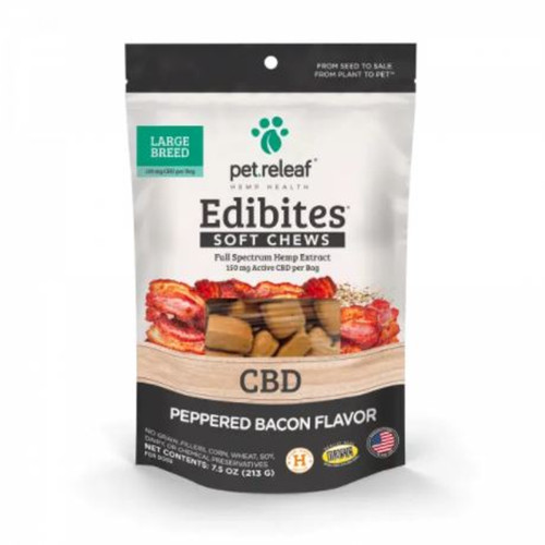 Pet Releaf CBD Peppered Bacon Chews for Large Dogs