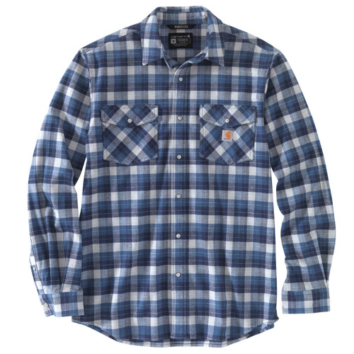 Carhartt Mens Rugged Flex Relaxed Fit Midweight Flannel Snap Front Long Sleeve Plaid Shirt