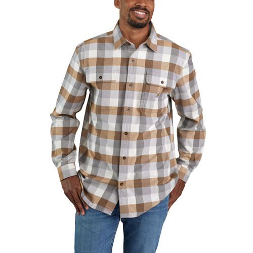 Carhartt Mens Loose Fit Heavyweight Plaid Long Sleeve Flannel Shirt