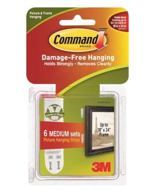 3M Command #17204 Medium Picture Hanging Strip - 3 Lb -White