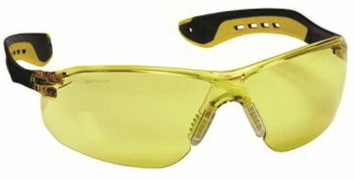 3M Impact Safety Glasses, Anti-Scratch, Amber Lens, Black/Yellow, Rubber