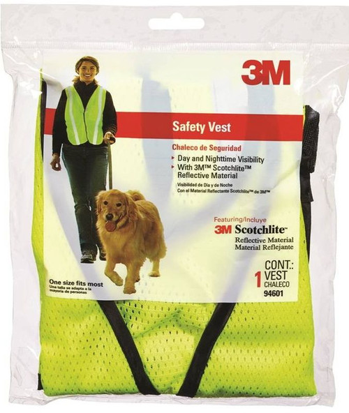 3M Tekk Protection  Adjustable Day/Night Reflective Safety Vest, One Size Fits All, Fabric