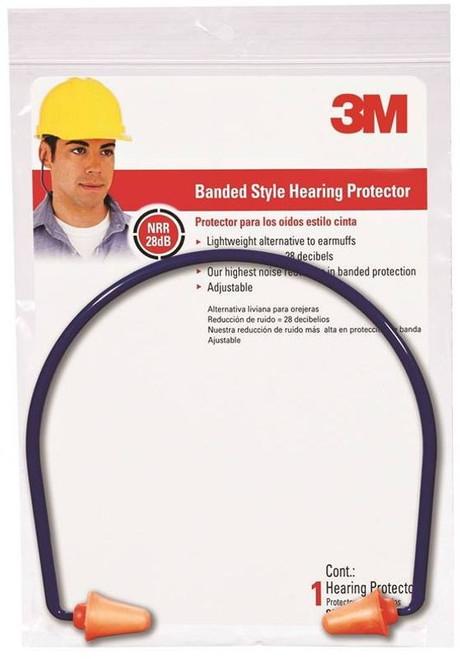 3M Band Style Hearing Protector, 28 dB, Orange