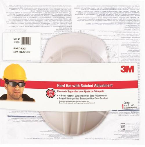 3M Hard Hat, Polyethylene, 4-Point Ratchet Adjustment Suspension, White