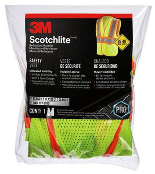 3M 2-Tone Class 2 Reflective Construction Safety Vest, One Size Fits All, Velcro Closure, Polyester Mesh