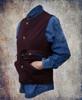 Chestnut PV vest worn over the washed denim shirt