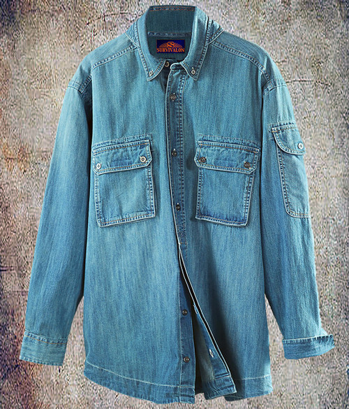 This washed denim shirt is soft and great looking. Seems like it has become a new classic. Can be worn as a popover for easy on and off. The big double pockets are easily reachable as the flaps are closed with a small patch of Velcro for quick access.