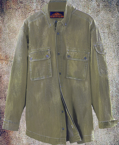 This washed twill is windproof and for me the best is mosquito proof! The big double pockets are easily reachable as the flaps are closed with a small patch of Velcro for quick access. Fly fishing friendly:) A fabulous utility shirt.