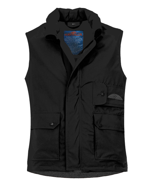 Our black vest is a contemporary version of classic. The all black sets it aside in a way that works with jeans and dress wardrobes alike. A  color for smooth traveling, will easily coordinate with everything that you bring on the trip.
