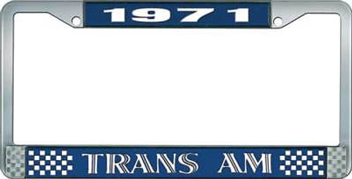 1971 Trans Am Style #1 License Plate Frame - Blue and Chrome White Lettering