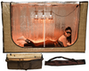 """The portable indoor Convertible Radiant sauna tent interior is now 6'5"""" (1.98 meters) long with an attractive, golden wood-grain exterior. Travel/storage bags included with tent purchase. Sauna Fix NIR lamp sold separately."""