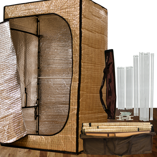 Convertible Radiant near infrared sauna tent with R-12 insulation, makes you sweat double in half the time.  Assembles in less than 2 minutes without any tools.  Retains 95% of heat.