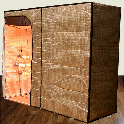 """The new Hot Yoga and Exercise sauna tent, when used with the Sauna Fix NIR sauna lamp (sold separately), helps burn 444% more fat and weight during each workout. The tent features both a vertical and horizontal insert that quickly converts it to an ideally sized """"sit-down"""" near infrared sauna space, perfect for post-workout muscle recovery. The Hot Yoga and Exercise sauna tent has plenty of room and height for hot yoga and other exercises. Sauna Fix NIR sauna lamp sold separately."""