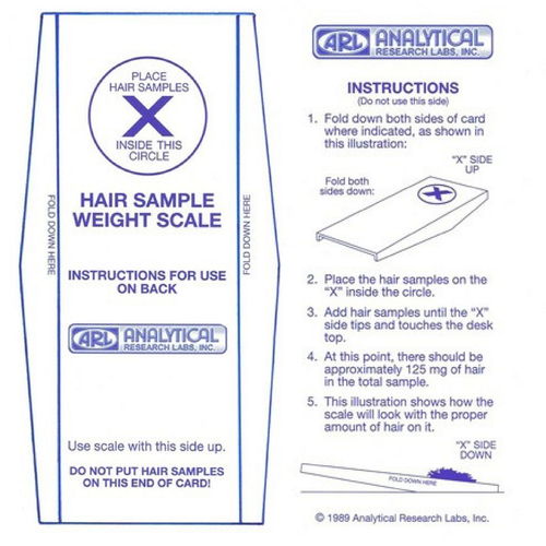 Hair sample scale and envelope for hair analysis testing at Wellness Shopping online.