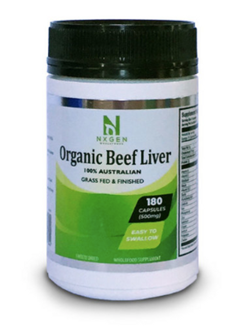 NXGEN Organic Grass Fed & Finished Beef Liver 180 Tablets, Front of Bottle