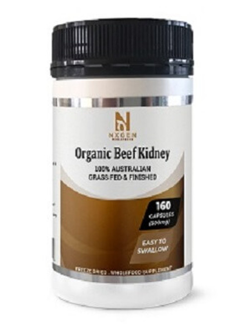 NXGEN Grass Fed Beef Kidney 160 Capsules, Front of Bottle