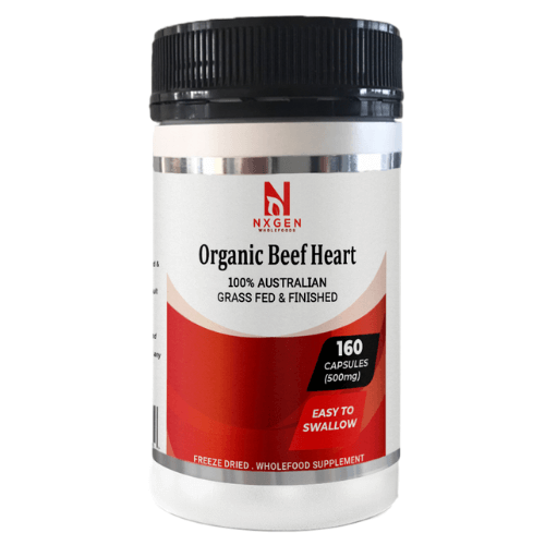NXGEN Grass Fed Beef Heart 160 Capsules, Front of Bottle