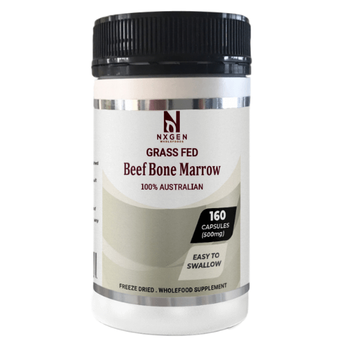 NXGEN Grass Fed Beef Bone Marrow 160 Capsules, Front of Bottle