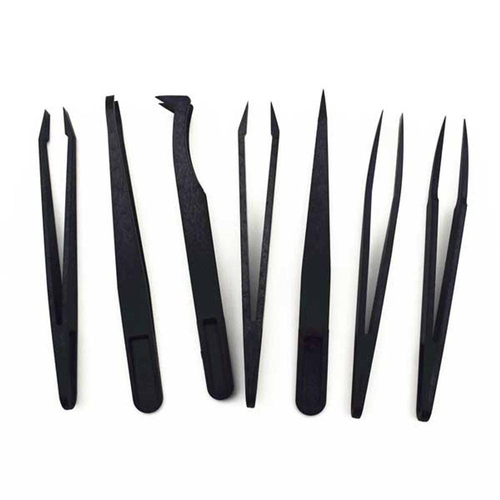 7pcs/set Anti-Static ESD Plastic Precision Tweezers