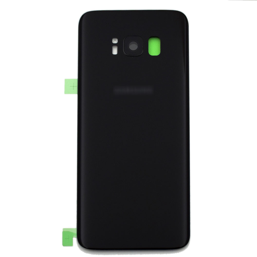Back Glass Cover  + Camera Cover + Camera Lens + Adhesive for Samsung Galaxy S8 All Versions -Black