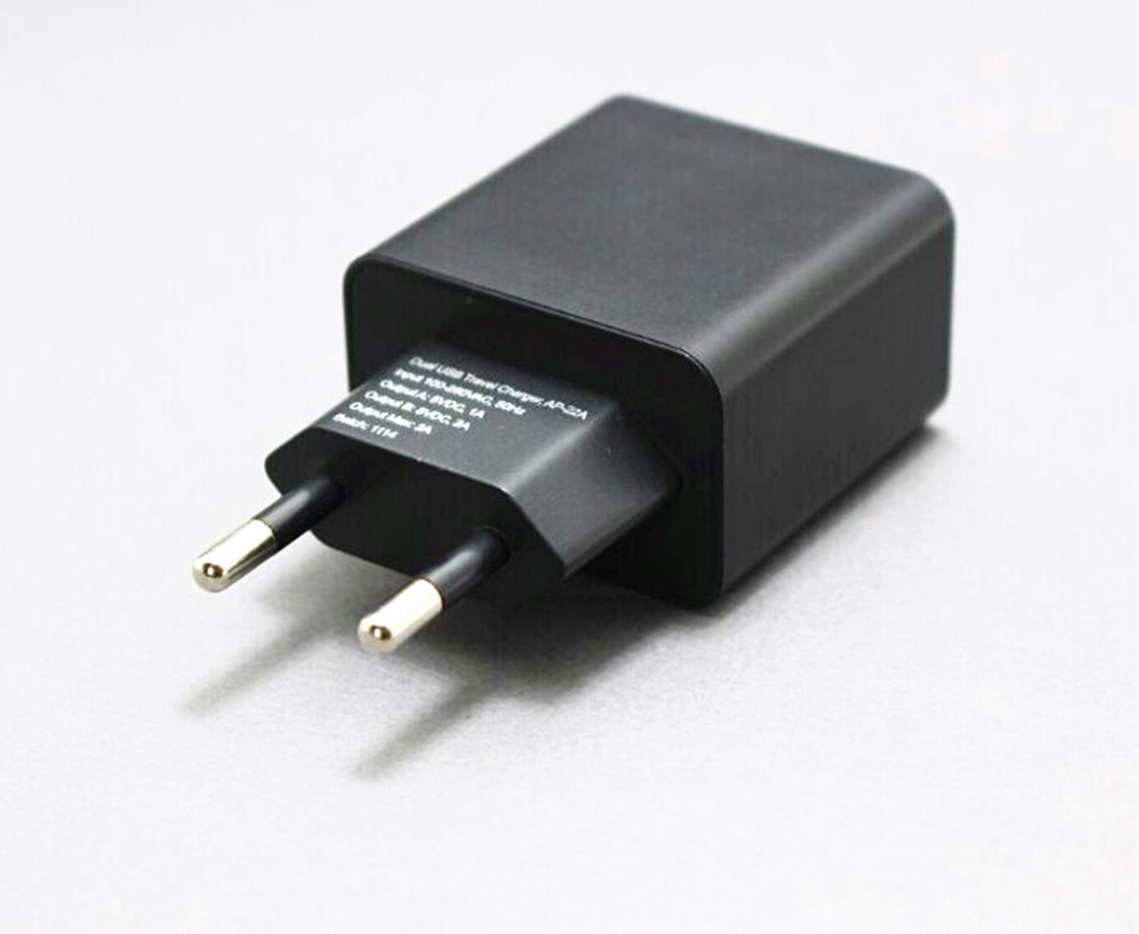 5V 2.4A 12W Dual-Port USB Travel Charger EU Plug Type E/F Adapter  -Black