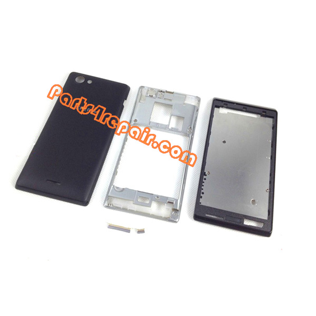 Full Housing Cover for Sony Xperia J ST26I -Black from www.parts4repair.com