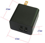 12W 5V 2.4A Dual-Port USB Travel Charger Adapter -Black