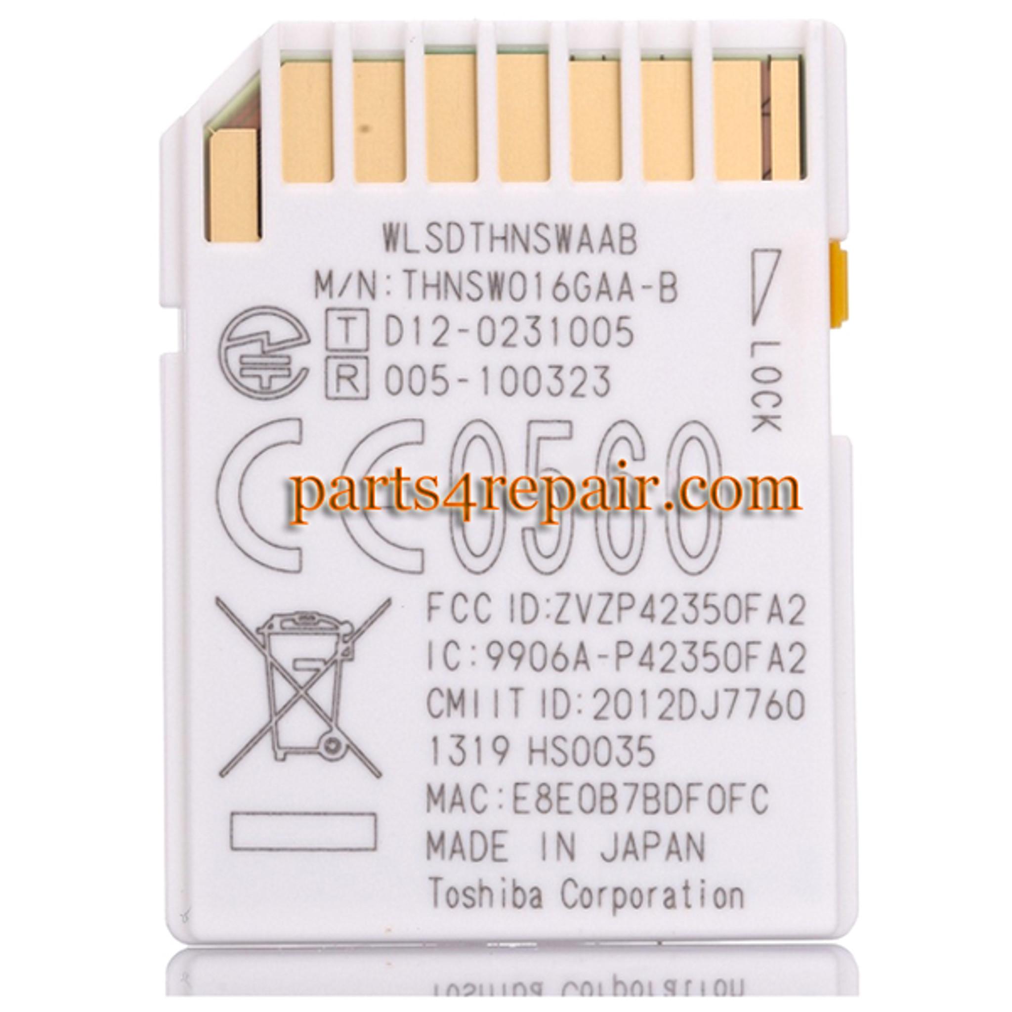Toshiba FlashAir WIFI WIRELESS SDHC 16GB Class 10 Flash Memory