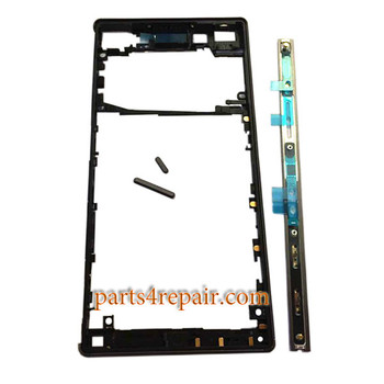 Middle Housing Cover with Small Parts for Sony Xperia Z5 -Black