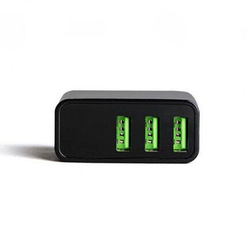3-Port USB Charger Adapter with Output Display 5V 3A -- Black