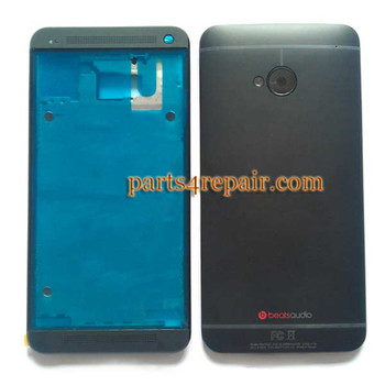 Full Housing Cover for HTC One M7 -Black from www.parts4repair.com