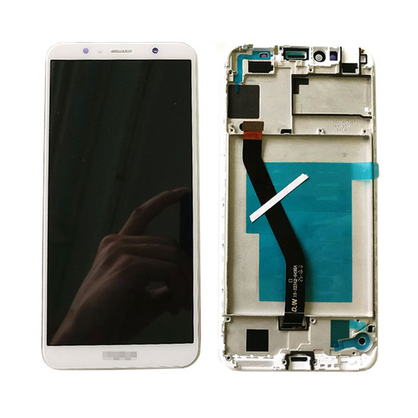 Huawei Y6 2018 LCD Screen and Digitizer Assembly with Frame White
