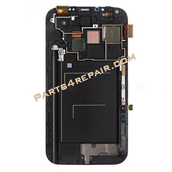 Samsung Galaxy Note II N7100 Complete Screen Assembly with Bezel -Black from www.parts4repair.com