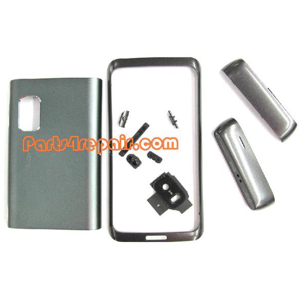 Full Housing Cover for Nokia E7 / E7-00 -Silver from www.parts4repair.com