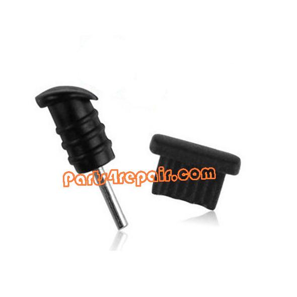 USB Dust Cover + Headphone Dust Cap for Samsung Galaxy S4 I9500/I9295-Black