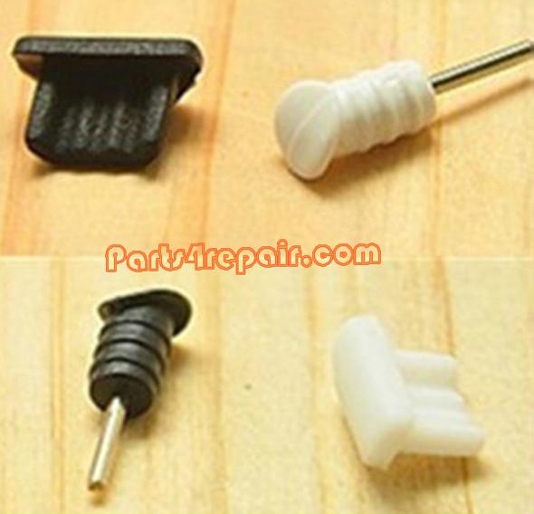USB Dust Cover + Headphone Dust Cap for Samsung Galaxy S4 I9500/I9295-White