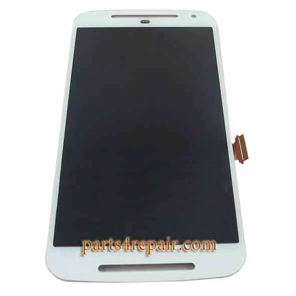Complete Screen Assembly for Motorola Moto G2 -White from www.parts4repair.com