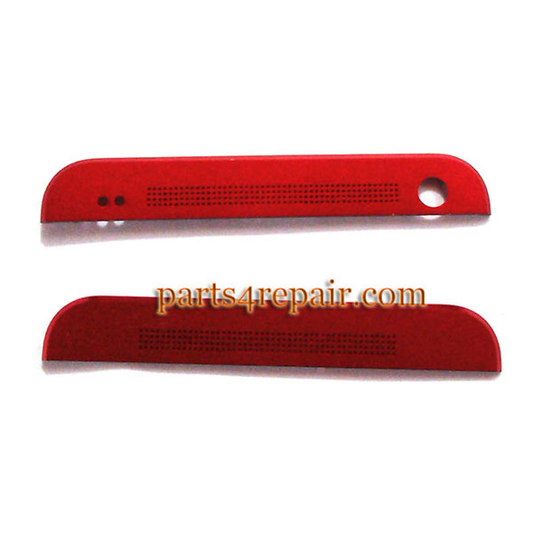 Top Cover & Bottom Cover for HTC One M7 -Red