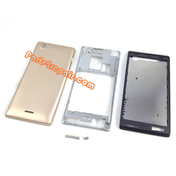 Full Housing Cover for Sony Xperia J ST26I -Gold from www.parts4repair.com
