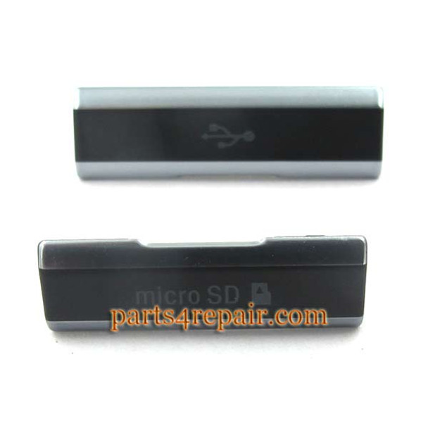 SD Cover & USB Cover for Sony Xperia Z1S L39T -Black (for T-Mobile)