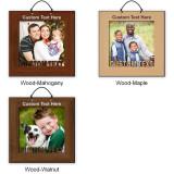 Photo Frame Hardwood Ornament w/ Cutout Text