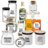 Spice Jar Labels 145/Set w/ Custom Options