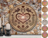 Hex Wood! Bless Family (24in) Personalized PA Dutch Hex Sign