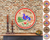 Hex Wood! Welcome Bird of Paradise (16in) Personalized PA Dutch Hex Sign