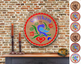Hex Wood! Welcome Distelfink (16in) Personalized PA Dutch Hex Sign