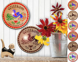 Hex Wood! Welcome Bird of Paradise (08in) Personalized PA Dutch Hex Sign