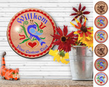 Hex Wood! Welcome Distelfink (12in) Personalized PA Dutch Hex Sign