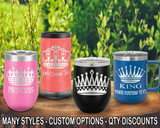 (PCA) Royalty Crown Polar Camel Travel Wine Tumblers w/ FREE Personalization