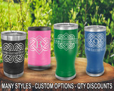 (PCB) Celtic Love Knot Monogram Polar Camel Travel Beer Tumblers w/ FREE Personalization