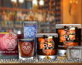 (GLC) Mexican Sugar Skull Whiskey and Shot Glasses w/ FREE Personalization